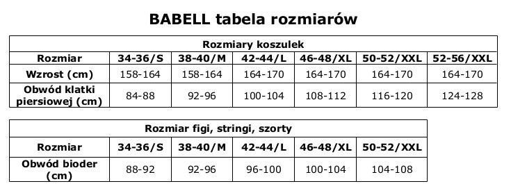 tabela rozmiarów Babel